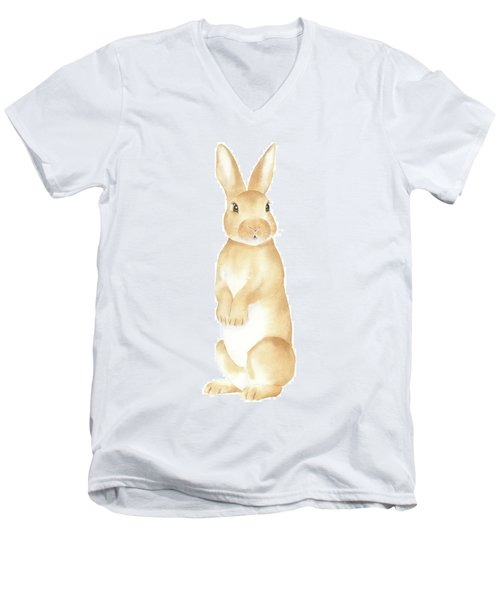 Men's V-Neck T-Shirt featuring the painting Rabbit Watercolor by Taylan Apukovska
