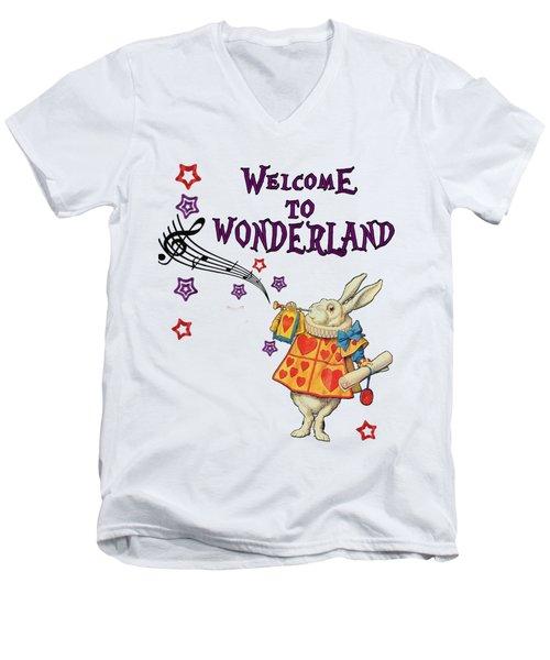 Rabbit Welcome To .. Alice In Wonderland Men's V-Neck T-Shirt