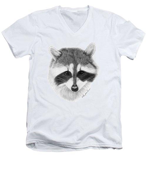 Raccoon Men's V-Neck T-Shirt by Rita Palmer