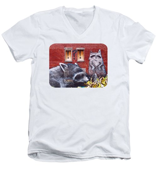 Raccoons Men's V-Neck T-Shirt by Ethna Gillespie