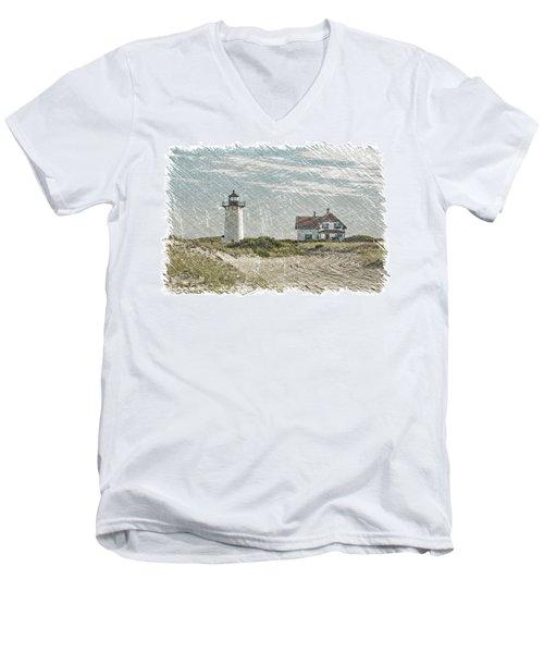 Race Point Lighthouse Men's V-Neck T-Shirt by Paul Miller