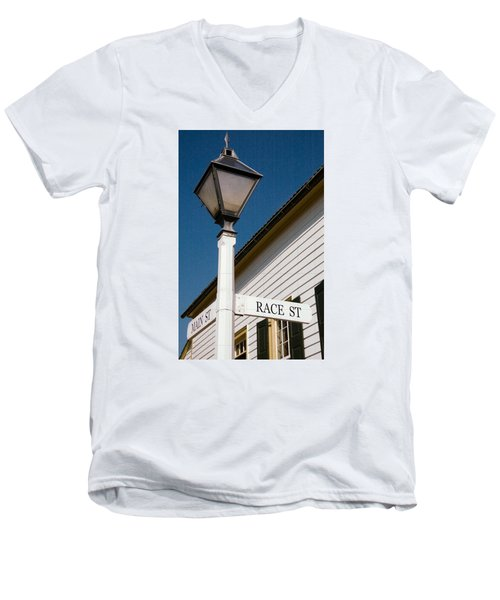 Race St Old Salem Men's V-Neck T-Shirt by Bob Pardue