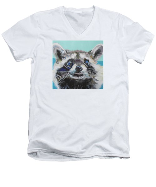 Racoon Men's V-Neck T-Shirt by Jamie Downs