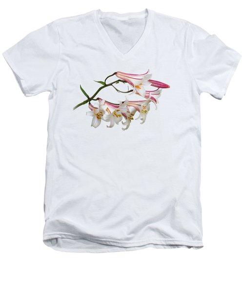 Radiant Lilies Men's V-Neck T-Shirt by Gill Billington