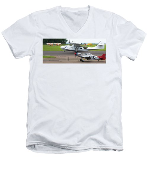 Raf Scampton 2017 - P-51 Mustang With Pby-5a Landing Men's V-Neck T-Shirt
