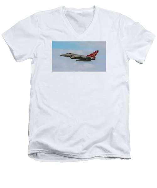 Raf Typhoon In Flight At Uk Airshow Men's V-Neck T-Shirt