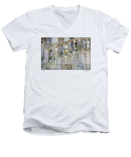 Men's V-Neck T-Shirt featuring the photograph Railing by R Thomas Berner