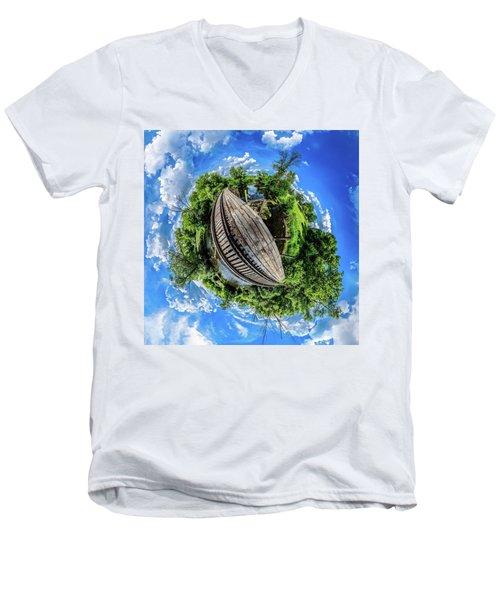 Men's V-Neck T-Shirt featuring the photograph Railroad Bridge by Randy Scherkenbach