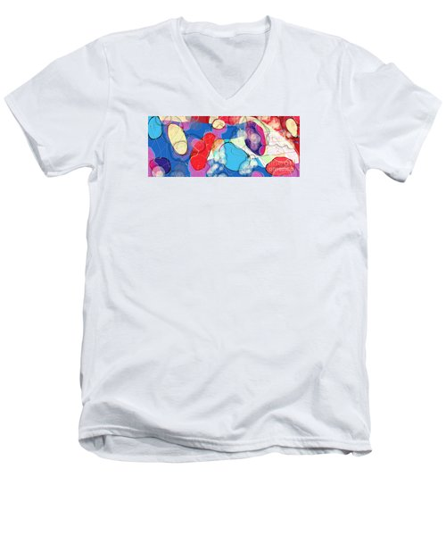 Men's V-Neck T-Shirt featuring the digital art Rain On Stained Glass Window by Gabrielle Schertz