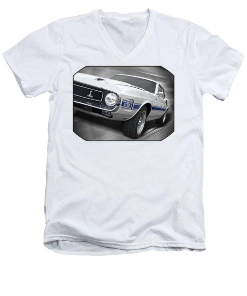 Rain Won't Spoil My Fun - 1969 Shelby Gt500 Mustang Men's V-Neck T-Shirt by Gill Billington
