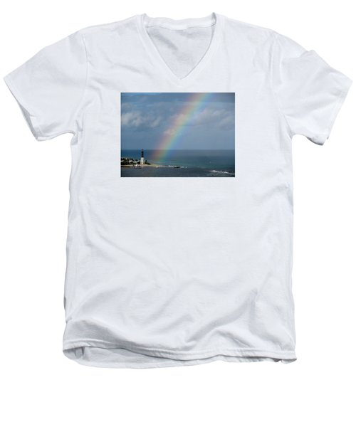 Rainbow At Lighthouse Men's V-Neck T-Shirt
