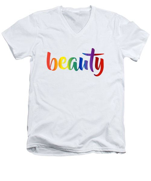 Rainbow Beauty Men's V-Neck T-Shirt by Menega Sabidussi