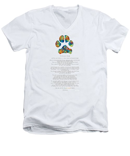 Rainbow Bridge Poem With Colorful Paw Print By Sharon Cummings Men's V-Neck T-Shirt