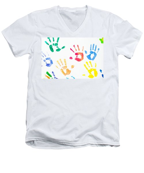Men's V-Neck T-Shirt featuring the photograph Rainbow Color Arms Prints 1 by Jenny Rainbow