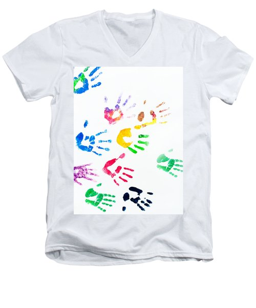 Men's V-Neck T-Shirt featuring the photograph Rainbow Color Arms Prints by Jenny Rainbow