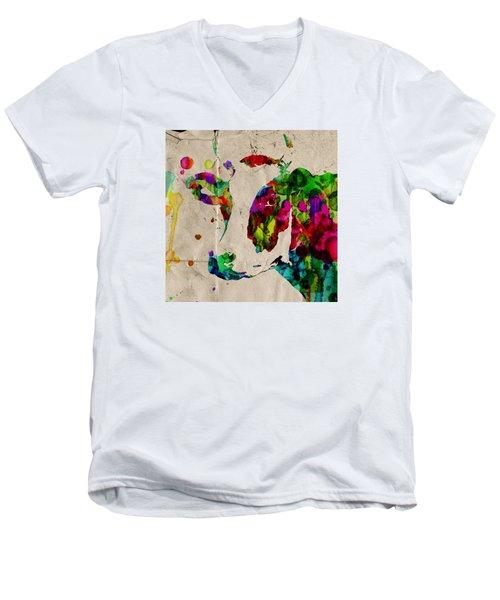 Rainbow Cow Print Poster Men's V-Neck T-Shirt