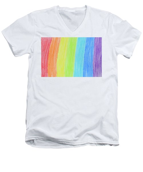 Rainbow Crayon Drawing Men's V-Neck T-Shirt by GoodMood Art