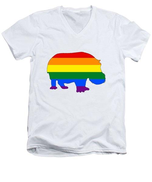 Rainbow Hippo Men's V-Neck T-Shirt