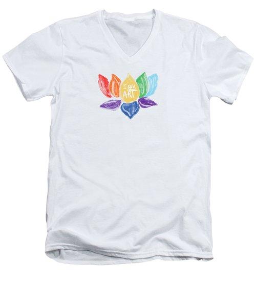 Rainbow Lotus I Am Art- Art By Linda Woods Men's V-Neck T-Shirt
