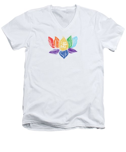 Rainbow Lotus I Am Art- Art By Linda Woods Men's V-Neck T-Shirt