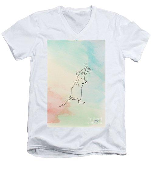 Rainbow Mouse Men's V-Neck T-Shirt by Stefanie Forck