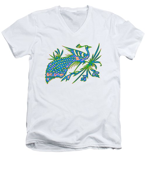 Rainbow Multicolored Peacock On A Branch Men's V-Neck T-Shirt