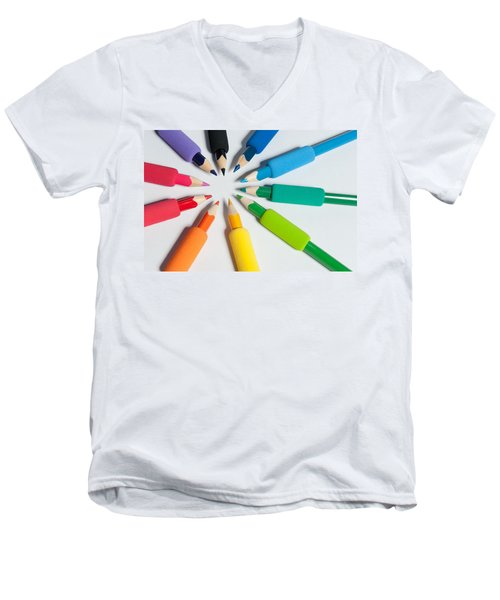 Rainbow Of Crayons Men's V-Neck T-Shirt