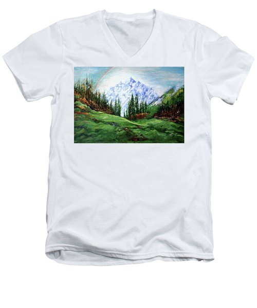 Rainbow Over The Snow Covered Mountain Men's V-Neck T-Shirt