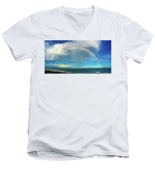 Rainbow Over Topsail Island Men's V-Neck T-Shirt by John Pagliuca