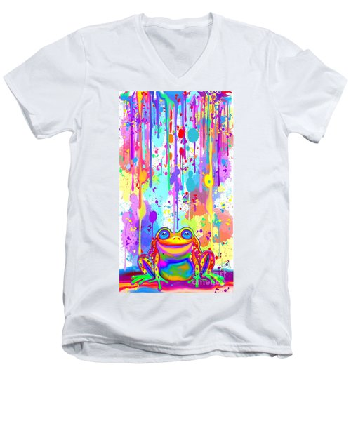Men's V-Neck T-Shirt featuring the painting Rainbow Painted Frog  by Nick Gustafson