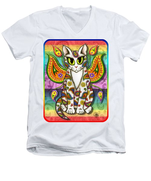 Rainbow Paisley Fairy Cat Men's V-Neck T-Shirt