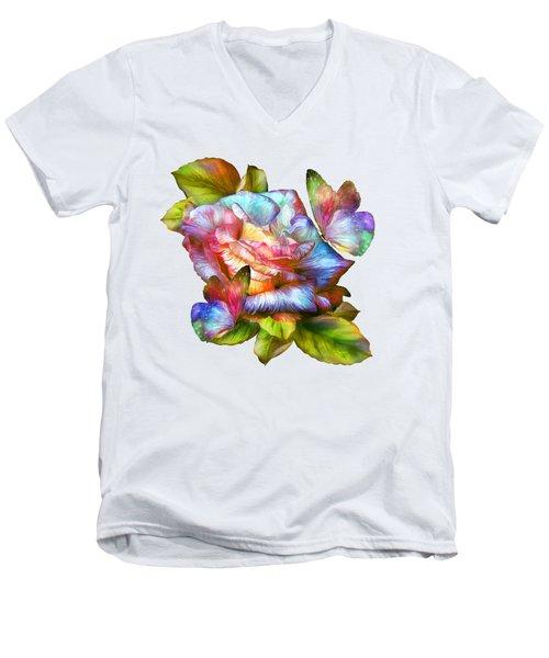 Rainbow Rose And Butterflies Men's V-Neck T-Shirt