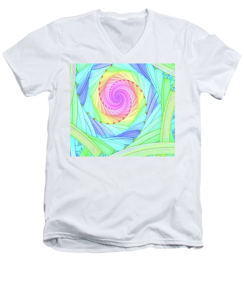 Rainbow Spiral Men's V-Neck T-Shirt