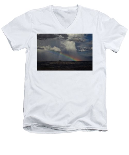 Rainbow Storm Over The Verde Valley Arizona Men's V-Neck T-Shirt by Ron Chilston