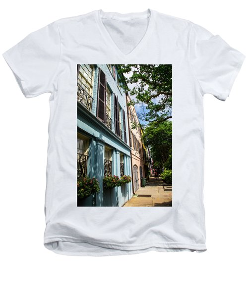 Men's V-Neck T-Shirt featuring the photograph Rainbow Street by Karol Livote