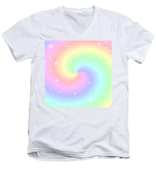 Rainbow Swirl With Stars Men's V-Neck T-Shirt