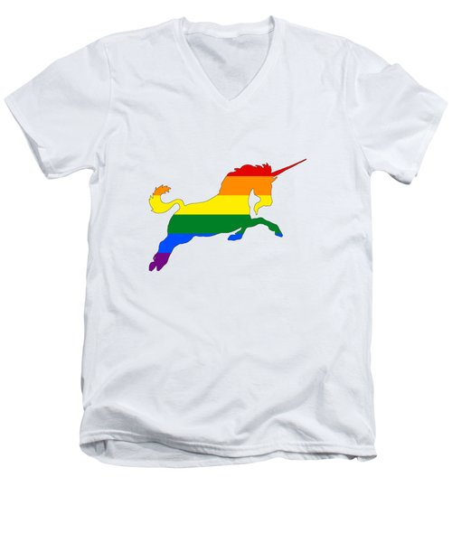 Rainbow Unicorn Men's V-Neck T-Shirt