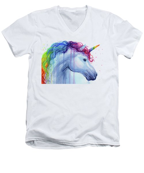 Rainbow Unicorn Watercolor Men's V-Neck T-Shirt