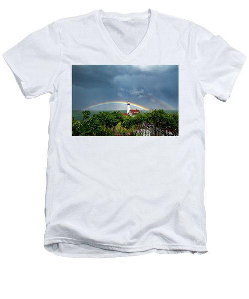 Rainbow X 2 At Portland Headlight Men's V-Neck T-Shirt