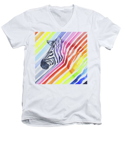 Rainbow Zebra Pattern Men's V-Neck T-Shirt