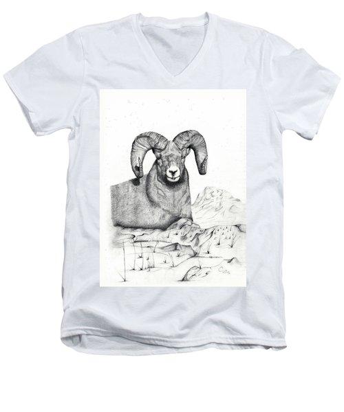 Men's V-Neck T-Shirt featuring the drawing Ram by Mayhem Mediums