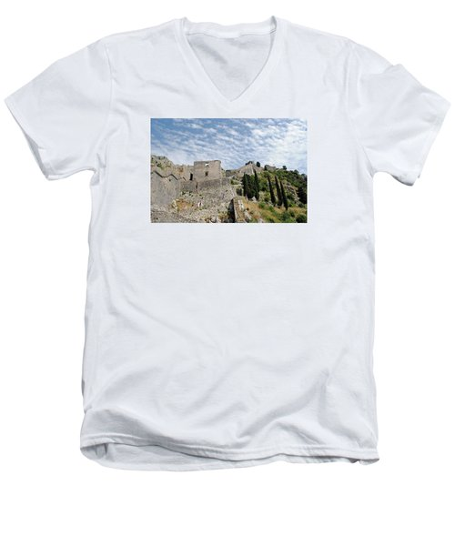 Men's V-Neck T-Shirt featuring the photograph Ramparts Of Montenegro by Robert Moss