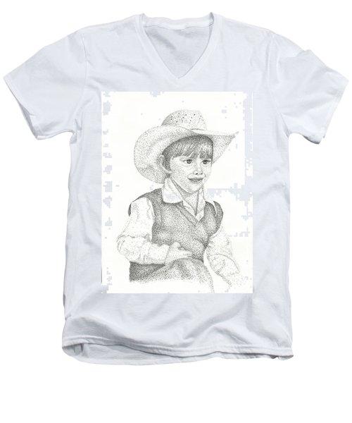 Men's V-Neck T-Shirt featuring the drawing Ranch Hand by Mayhem Mediums