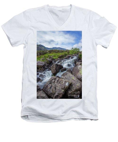 Rapids Of Snowdonia Men's V-Neck T-Shirt by Ian Mitchell