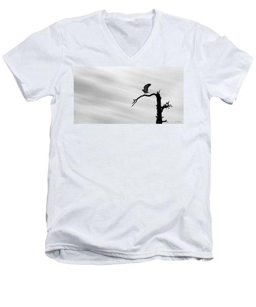 Men's V-Neck T-Shirt featuring the photograph Raptor Silhouette by Joe Bonita