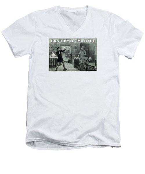 Rare Dr. Jekyll And Mr. Hyde Transformation Poster Men's V-Neck T-Shirt by Carsten Reisinger