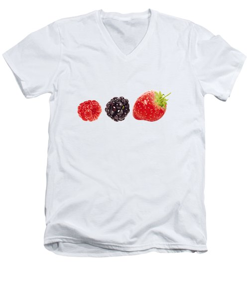 Raspberry, Blackberry And Strawberry In Watercolor Men's V-Neck T-Shirt