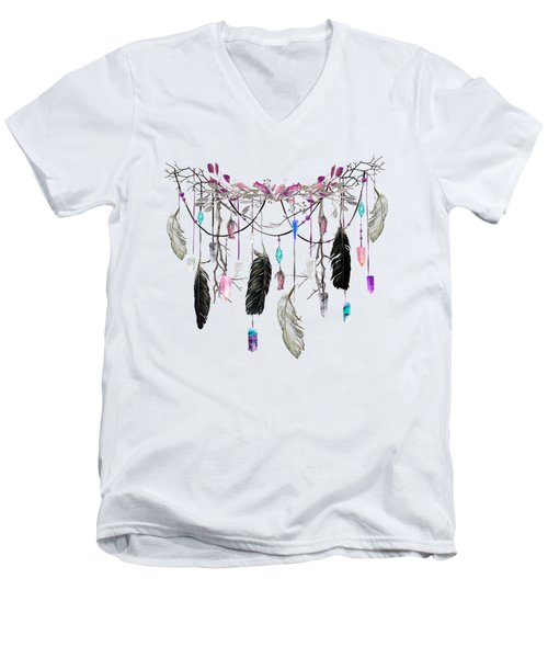 Raven Feathers And Roses Crystal Spirit Gazer Men's V-Neck T-Shirt