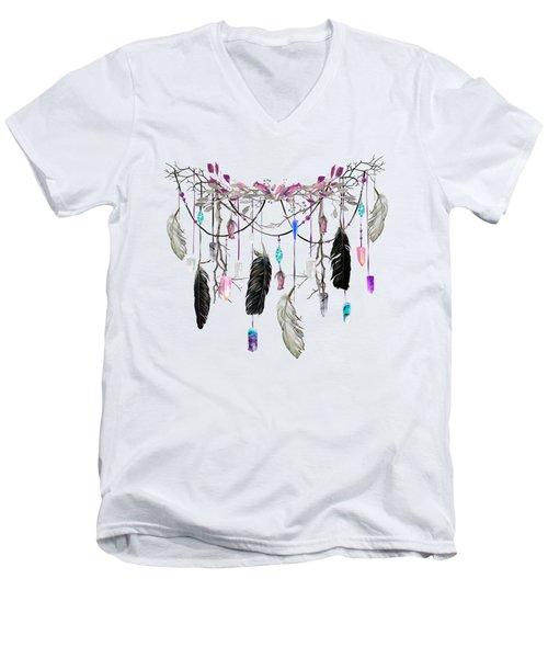 Raven Feathers And Roses Crystal Spirit Gazer Men's V-Neck T-Shirt