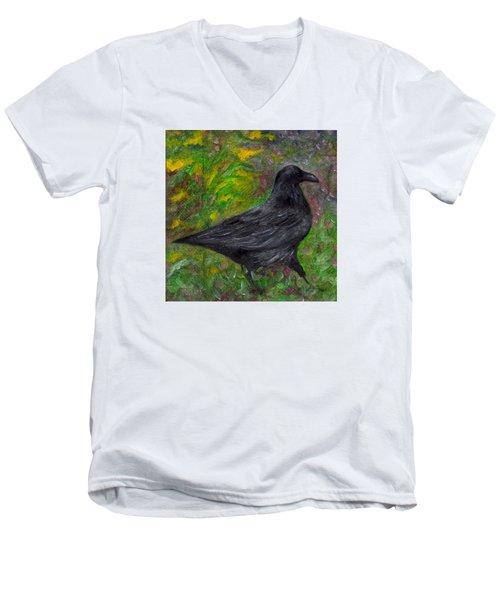 Raven In Goldenrod Men's V-Neck T-Shirt